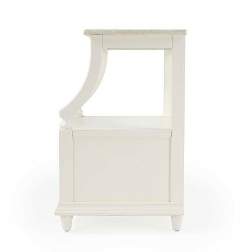Butler Specialty Company - This charming nightstand is a near-perfect bedside companion ™ it stores nearly everything you want just within arm's reach. It features a spacious display shelf to charge a phone or tablet, a pull-out tray to place that morning cup of coffee, and an oversized drawer to tuck away books and other essentials. It is available in white or gray finishes with antique sable finished brass hardware. Crafted from mahogany wood solids, engineered wood products, and mahogany veneer, it is exquisitely topped with white Melati marble for a sense of timeless elegance. Also suitable for use as a chairside table.