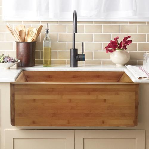 "Lydra Single Bowl Bamboo Farmer Sink - 36"""