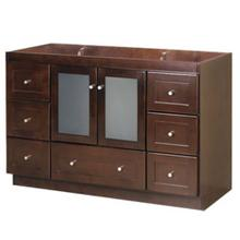 """View Product - Shaker 48"""" Bathroom Vanity Cabinet Base in Dark Cherry - Frosted Glass Doors"""