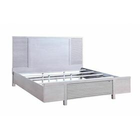 ACME Aromas California King Bed (Storage) - 28104CK - Coastal - Wood (Poplar), Wood Veneer (Oak), MDF, Ply, PB - White Oak