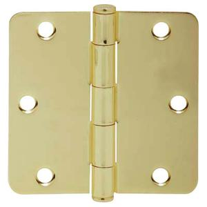 "Door Hardware  3.5"" Round Hinge 1/4"" Radius - Bright Brass Product Image"