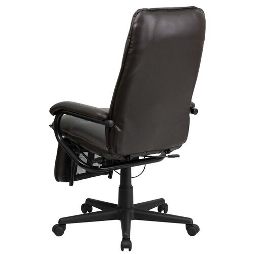 High Back Brown Leather Executive Reclining Swivel Chair with Arms