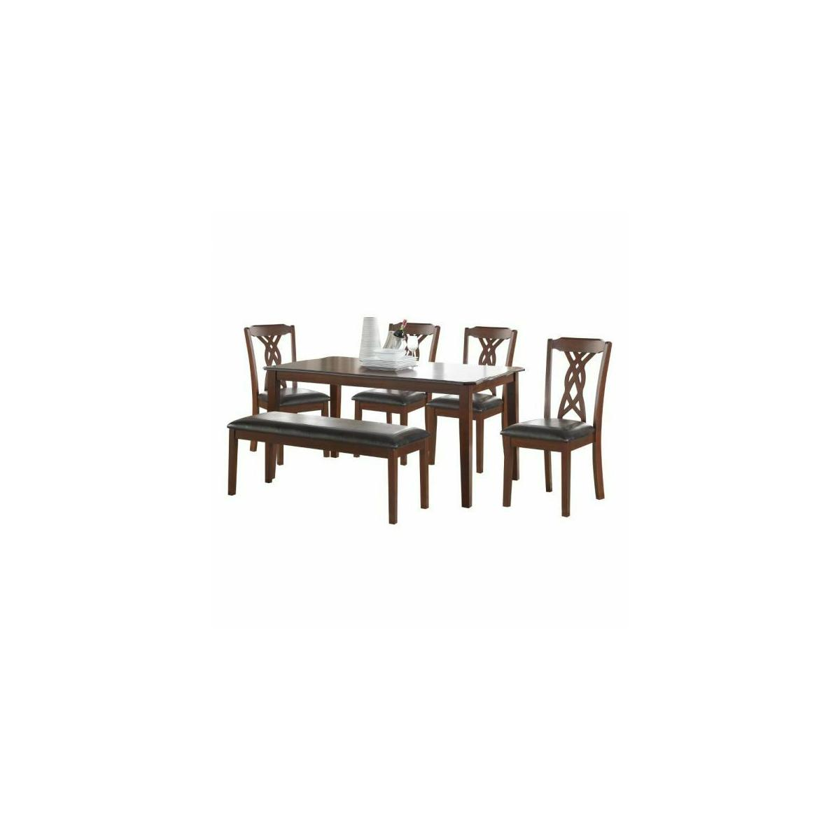 ACME Ingeberg 6Pc Pack Dining Set - 71840 - Black PU & Espresso
