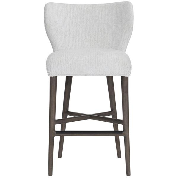See Details - Kemp Bar Stool in Portobello Finishes Available Cocoa (CN1) Portobello (PN1) Smoke (SN1) Description Upholstered seat with welt Fully upholstered curved back Powder-coated metal cap on front stretcher in black finish Glides Options Note: Must be ordered with welt. No nailhead option. Available in other fabrics or COM. To order in the available non-wire brushed finishes, specify the 3-digit finish number. Also available in wire brushed finishes - Glacier White, Midnight Black and Weathered Greige. See 305-586W . Specifications subject to change without notice. Due to differences in screen resolutions, the fabrics and finishes displayed may vary from the actual fabric and finish colors. ALL RELATED PRODUCTS