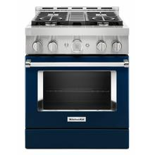 View Product - KitchenAid® 30'' Smart Commercial-Style Gas Range with 4 Burners - Ink Blue