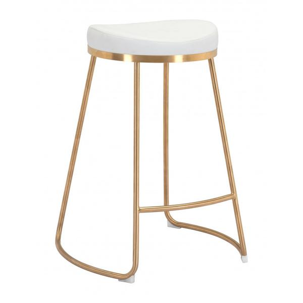 Bree Counter Stool White & Gold