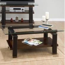 View Product - Cocktail Table Base W/ Shelf and Faux Leather