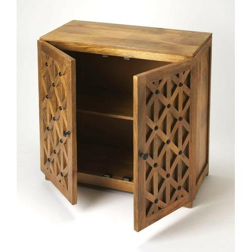 Butler Specialty Company - This handsome console cabinet is a versatile accent in nearly any space ™ in the den as TV/media stand, in the kitchen for recipe books and extra dishes, or in the living room/entryway for displaying family photos. Crafted from mango wood solids and wood products in a natural finish, it boasts a diamond design pattern on the door fronts giving its casual styling a more modern aesthetic. With black iron hardware, it opens to reveal a spacious storage area with one fixed shelf inside.