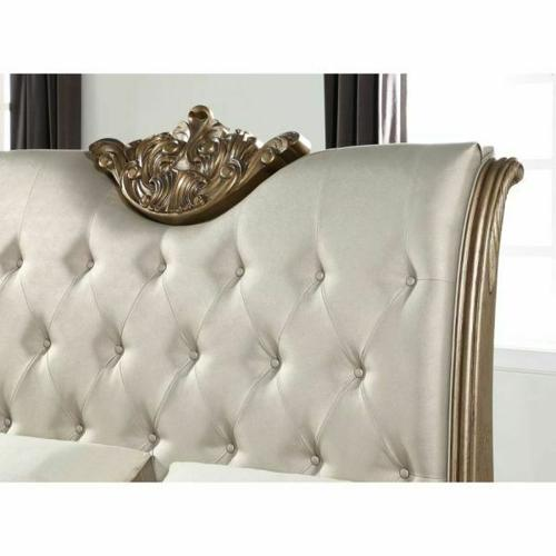 ACME Orianne Queen Bed - 23790Q - Champagne PU & Antique Gold