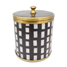 Black Resin and Mop Inlay Ice Bucket With Antique Brass Detail