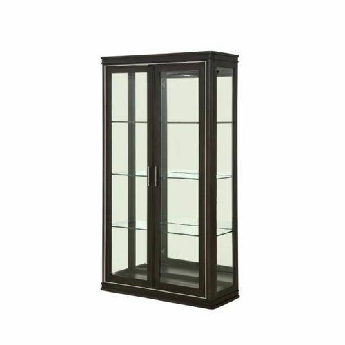 ACME Lorenzo Curio - 68096 - Transitional - Glass, Mirror, Wood (Poplar), Wood Veneer (Cherry), Ply, PB - Espresso