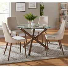 See Details - Rocca/Cora 5pc Dining Set, Walnut/Beige