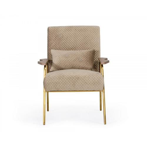 Gallery - Modrest Laforet - Glam Beige and Gold Fabric Accent Chair