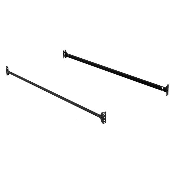82-Inch 85B Black Bed Frame Side Rails with Bolt-On Brackets for Headboards and Footboards, Queen