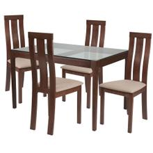 5 Piece Walnut Wood Dining Table Set with Glass Top and Vertical Wide Slat Back Wood Dining Chairs - Padded Seats