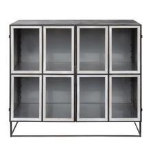 """See Details - 44""""L x 16""""W x 40""""H Metal & Glass Cabinet, Distressed Black Finish"""