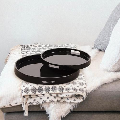 Howard Elliott - Black Lacquer Round Wood Tray Set