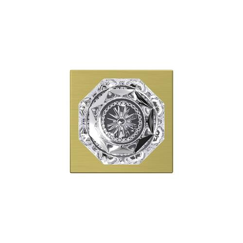 Custom Alexandria Glass Knob with Collins Trim Hall-Closet and Bed-Bath Lock - Satin Brass
