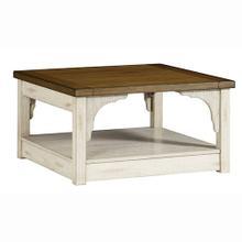 Square Cocktail Table - Oak/Antique White Finish