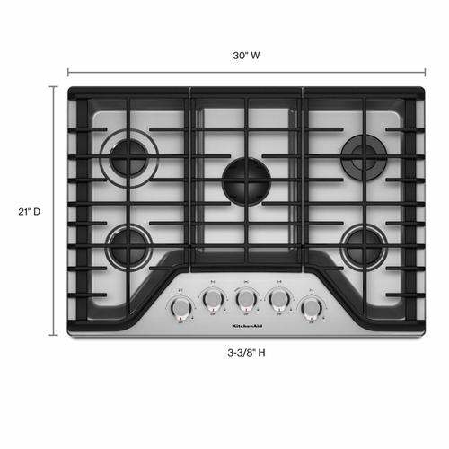 "KitchenAid - 30"" 5-Burner Gas Cooktop - Stainless Steel"