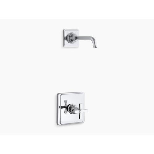 Kohler - Vibrant Brushed Nickel Rite-temp Shower Trim Set With Cross Handle, Less Showerhead