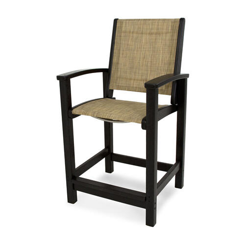 Black & Burlap Coastal Counter Chair