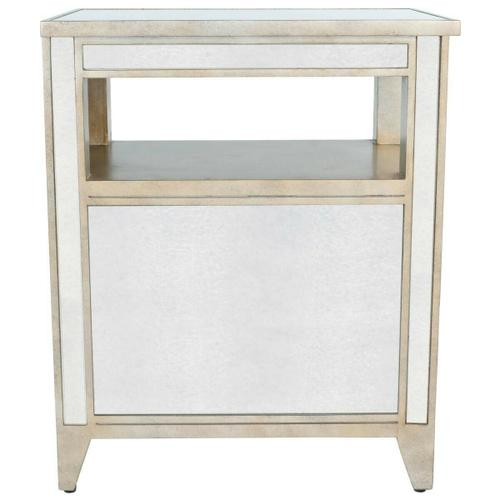 Butler Specialty Company - Trimmed in antique pewter and crafted from Birch Wood solids, this mirrored chairside chest is a beautiful touch of class in any space! The nicely sized drawers, add storage possibilities to this delightful piece!
