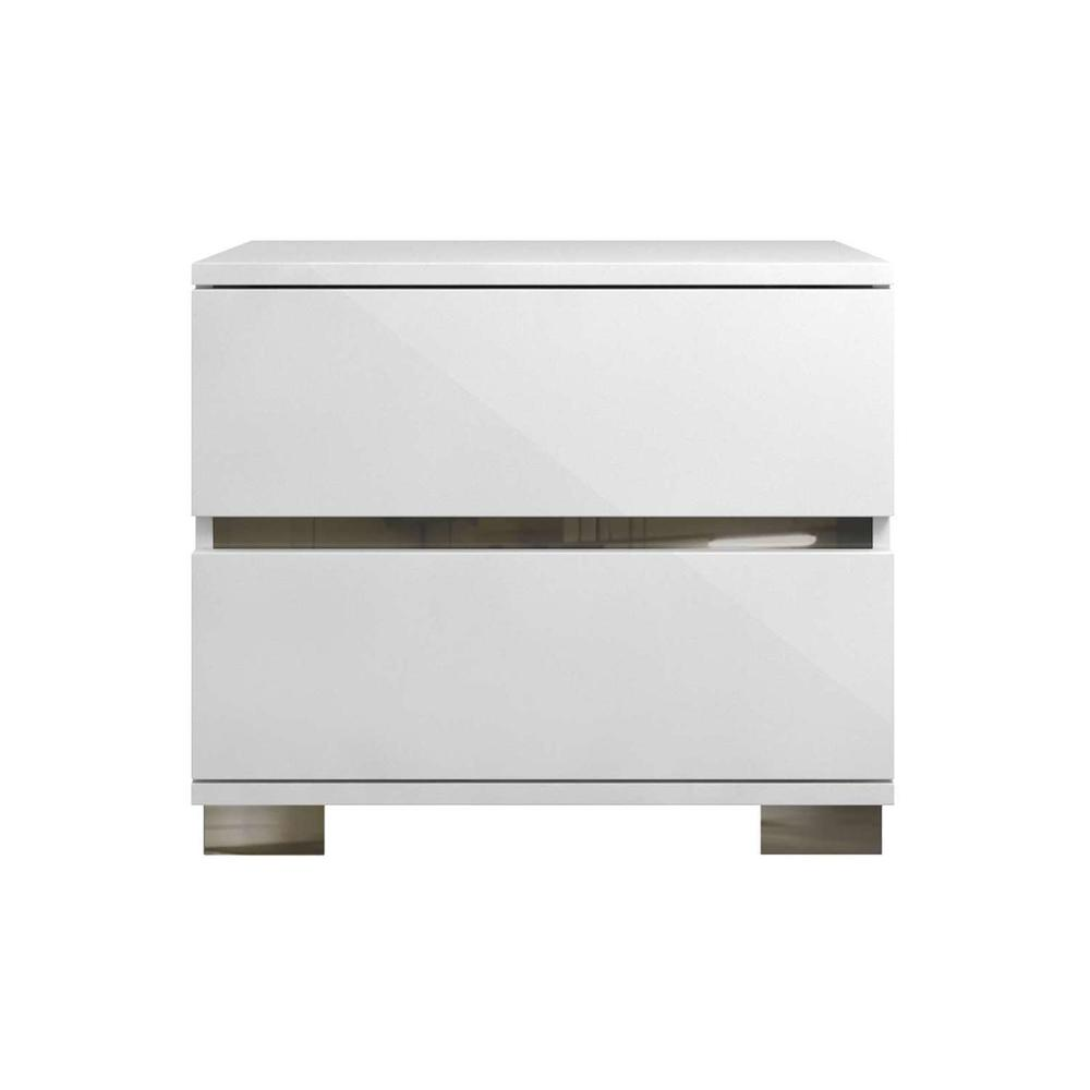 The Spark High Gloss White Lacquer / Stainless Steel Nightstands