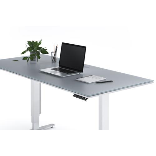 """BDI Furniture - Centro 6452-2 Standing Desk  66""""x30"""" in Satin White Gray Glass"""
