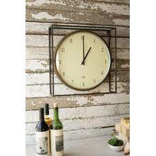 See Details - round clock with square metal frame