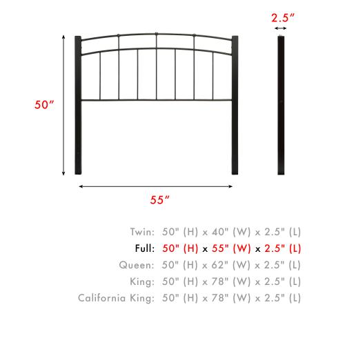 Scottsdale Metal Headboard Panel with Dark Espresso Wood Posts and Sloping Top Rail, Black Speckle Finish, Full