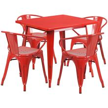31.5'' Square Red Metal Indoor-Outdoor Table Set with 4 Arm Chairs