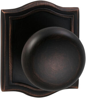 Interior Traditional Knob Latchset with Arched Rose in (TB Tuscan Bronze, Lacquered) Product Image