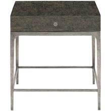 Linea End Table in Cerused Charcoal (384), Textured Graphite Metal (384)
