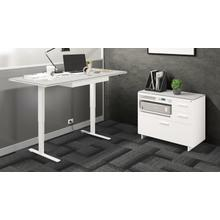 View Product - Centro 6417 Multifunction Cabinet in Satin White Painted Oak Grey Glass