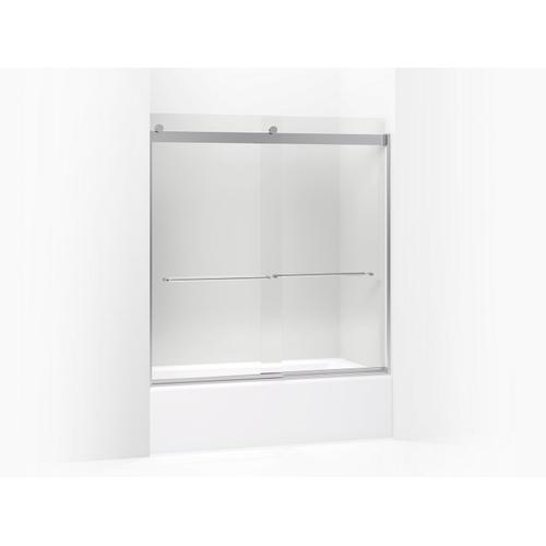 """Matte Black Sliding Bath Door, 62"""" H X 56-5/8 - 59-5/8"""" W, With 1/4"""" Thick Crystal Clear Glass"""