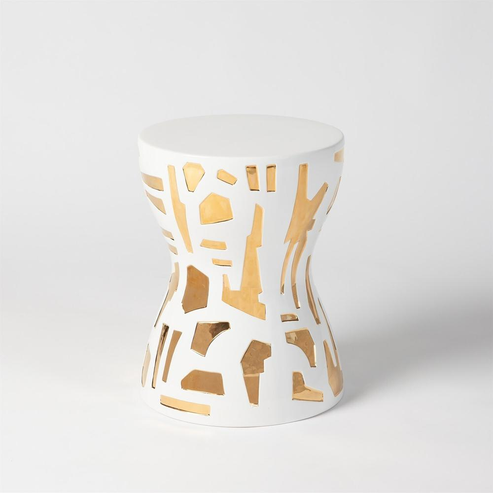 See Details - Abstract Stool-Gold/White