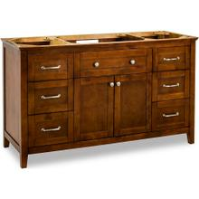 "59-11/16"" Chocolate Brown vanity base with Satin Nickel hardware and Shaker style"