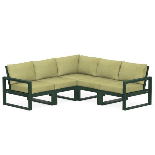 Polywood Furnishings - EDGE 5-Piece Modular Deep Seating Set in Green / Chartreuse Boucle