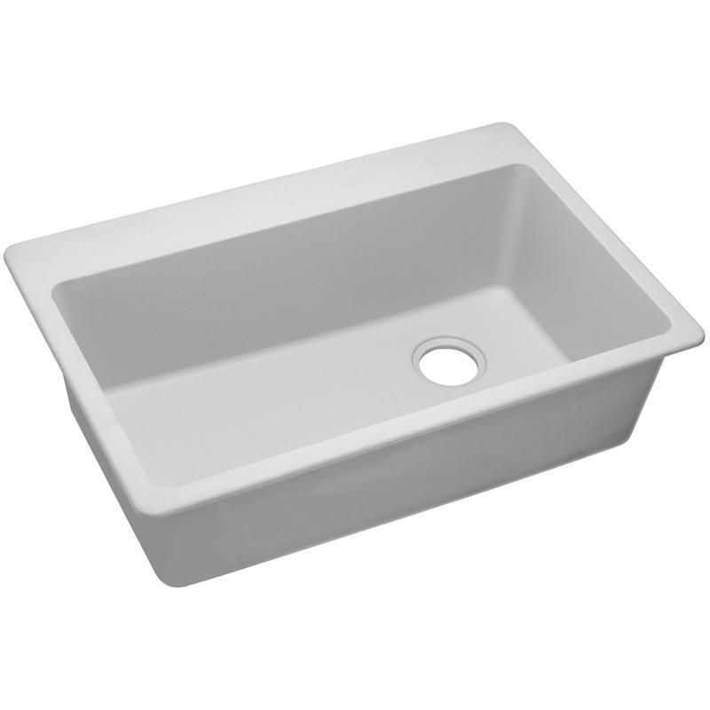 "Elkay Quartz Classic 33"" x 22"" x 9-1/2"", Single Bowl Drop-in Sink, White"