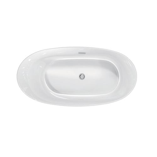 "Maxine 69"" Acrylic Slipper Tub with Integral Drain and Overflow - Polished Brass Drain and Overflow"