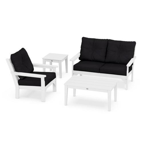 Vineyard 4-Piece Deep Seating Set in White / Midnight Linen