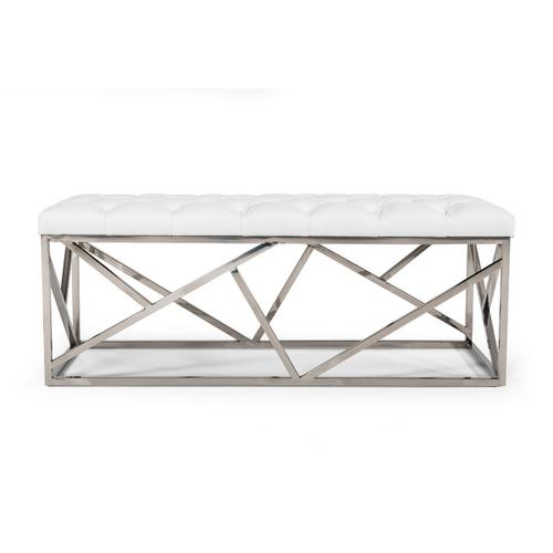 Gallery - Modrest Lindsey Modern White Leatherette & Stainless Steel Bench