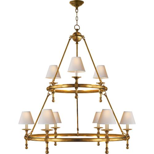 E. F. Chapman Classic 9 Light 45 inch Hand-Rubbed Antique Brass Chandelier Ceiling Light