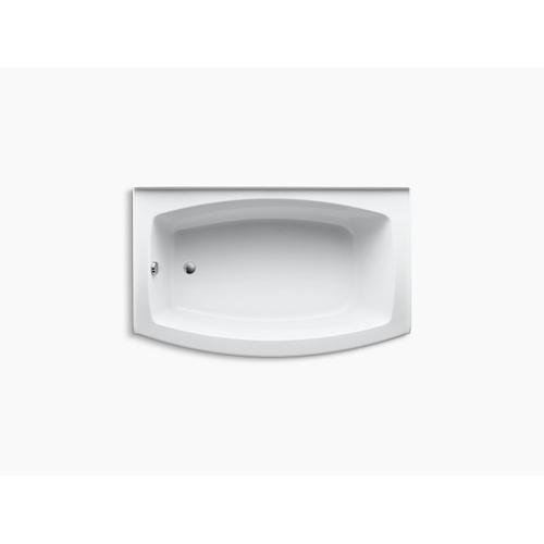 "White 60"" X 32-38"" Curved Alcove Bath With Integral Flange and Left-hand Drain"