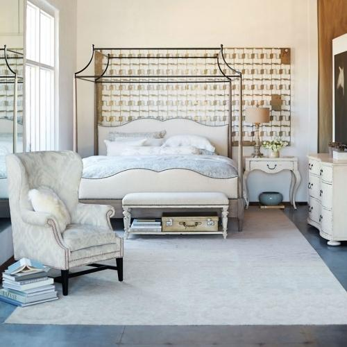 Bernhardt - King-Sized Auberge Poster Bed with Metal Canopy in Weathered Oak (351)