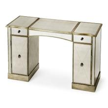 See Details - This glitzy vanity with antiqued mirrored top, front and sides and complementary pewter trim, makes a strong style statement while providing abundant storage. It offers adjustable shelves behind two doors, two drawers, plus a storage compartment beneath the hinged center lid. Hardware is finished in sophisticated antique brass. Crafted from hardwood solids and wood products.