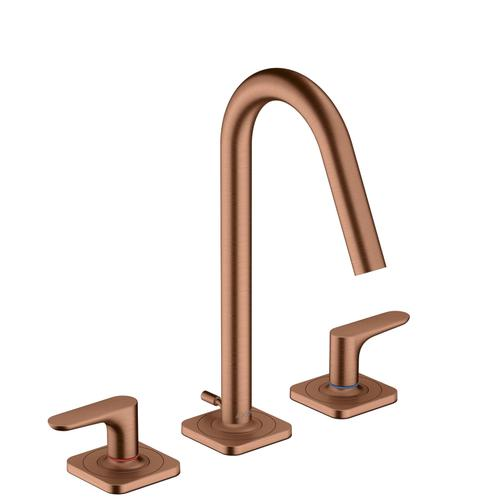 Brushed Red Gold 3-hole basin mixer 160 with lever handles, escutcheons and pop-up waste set