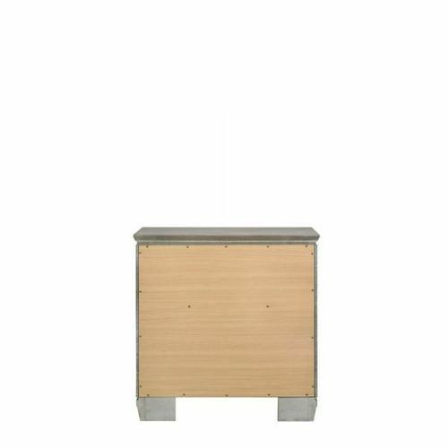 ACME Antares Nightstand - 21823 - Glam, Transitional - Mirror, Wood (Solid Rbw), MDF, PB - Light Gray Oak