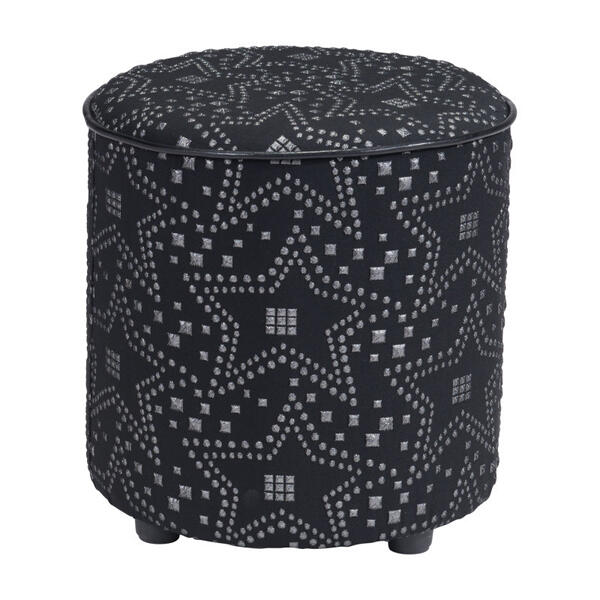 Constellation Ottoman Silver & Black